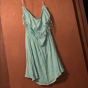 "Gorgeous Teal dress with lace and ""tassel"" detail"